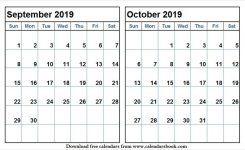 Sep And Oct 2019 Calendar Fillable Printable Template