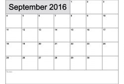 September 2016 Calendar Printable Template