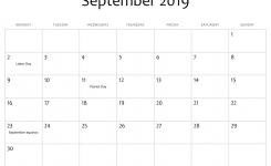 September 2019 Editable Calendar With Holidays