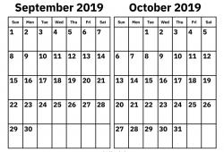 September October 2019 Print Calendar