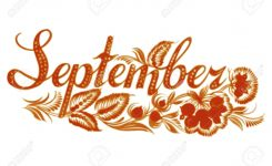September Name Of The Month Hand Drawn Illustration In Ukrainian