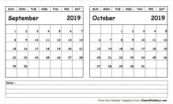 July August September October 2019 Calendar