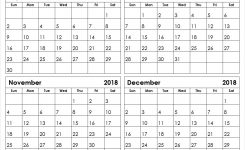 September October November December 2018 Calendar Template