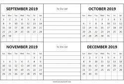 September To December 2019 Calendar