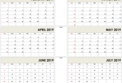 February March April May June July Calendar 2019