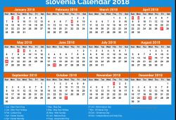 Slovenia Calendar 2018