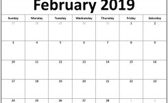 Small 2019 February Printable Calendar Landscape February 2019