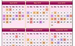 Sweet Sweet Floral Usa 2019 Calendar With Holidays Calendar 2019