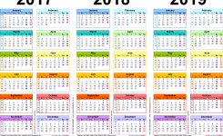 Three Year Calendars For 2017 2018 2019 Uk For Pdf