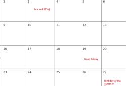 2019 April Calendar Online