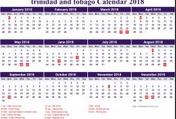 Free Calendar 2018 Trinidad And Tobago Printable