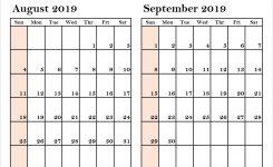 Two Month August September 2019 Calendar Print Blank Calendar Template