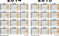 Two Year Calendars For 2014 2015 Uk For Excel
