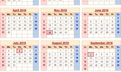 Usa Calendar Of 2018