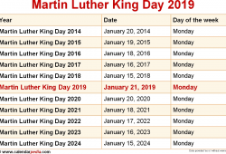 When Is Martin Luther King Day In 2019