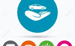 Wifi Sms And Calendar Icons Car Insurance Sign Icon Hand Holds
