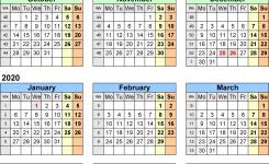 Year At A Glance Printable Calendar 2020 Split Year Calendars 2019