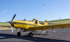 Yellow Crop Duster Plane In A Small Airport In Pullman Washington