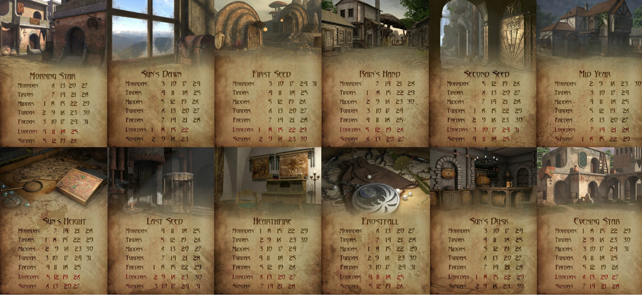 Elder Scrolls Calendar