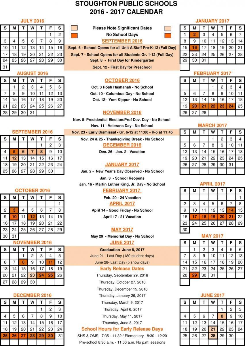 2016 2017 School Calendar Stoughton Public Schools