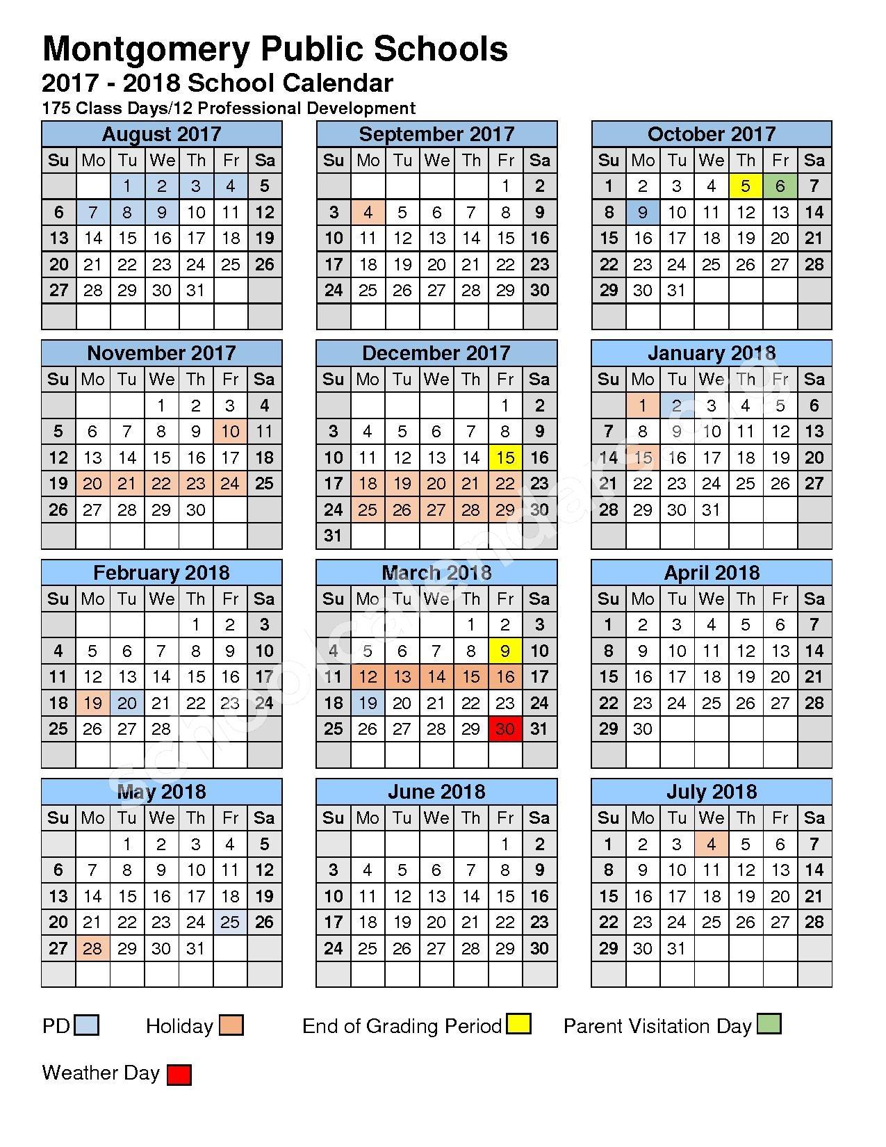 Montgomery County Public School Calendar