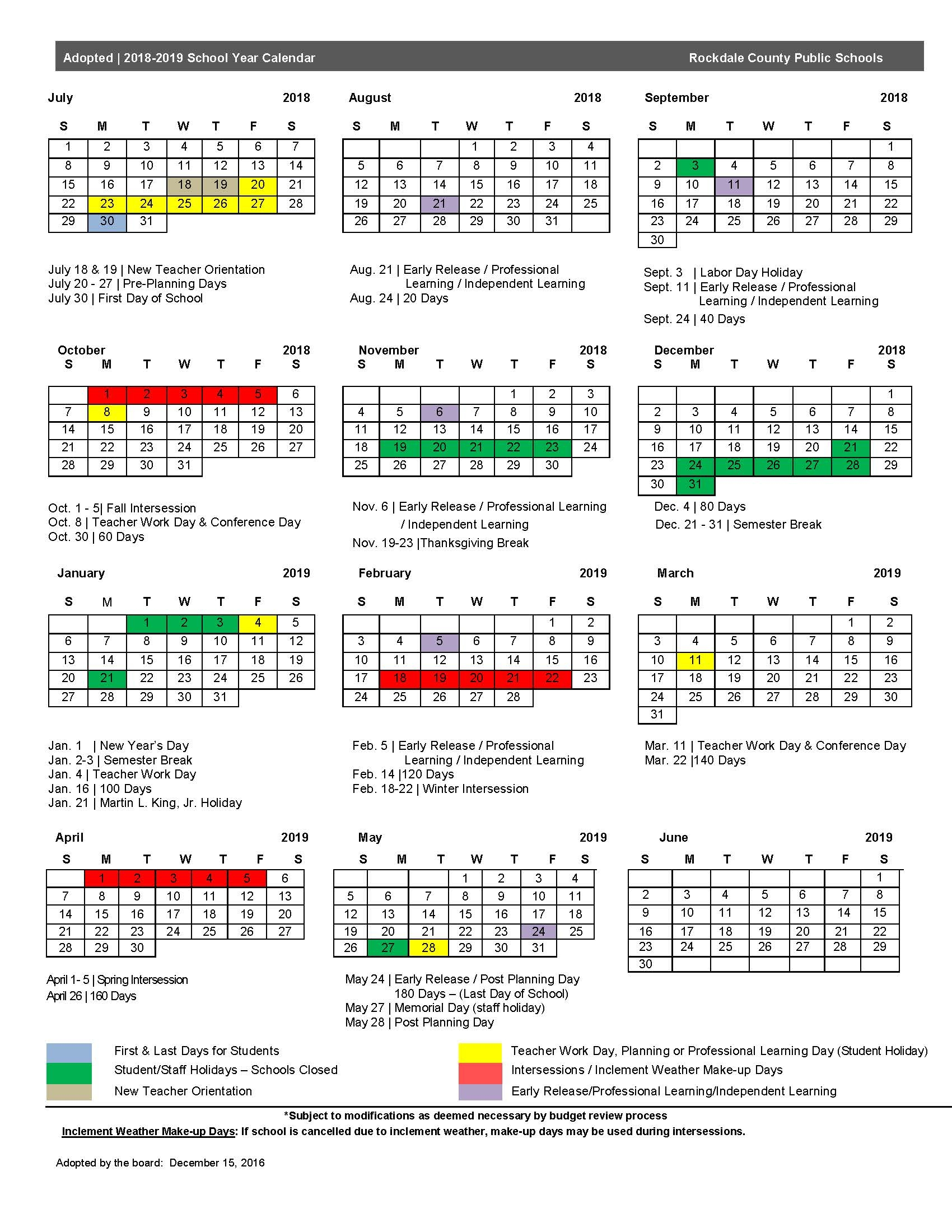 Rockdale County School Calendar