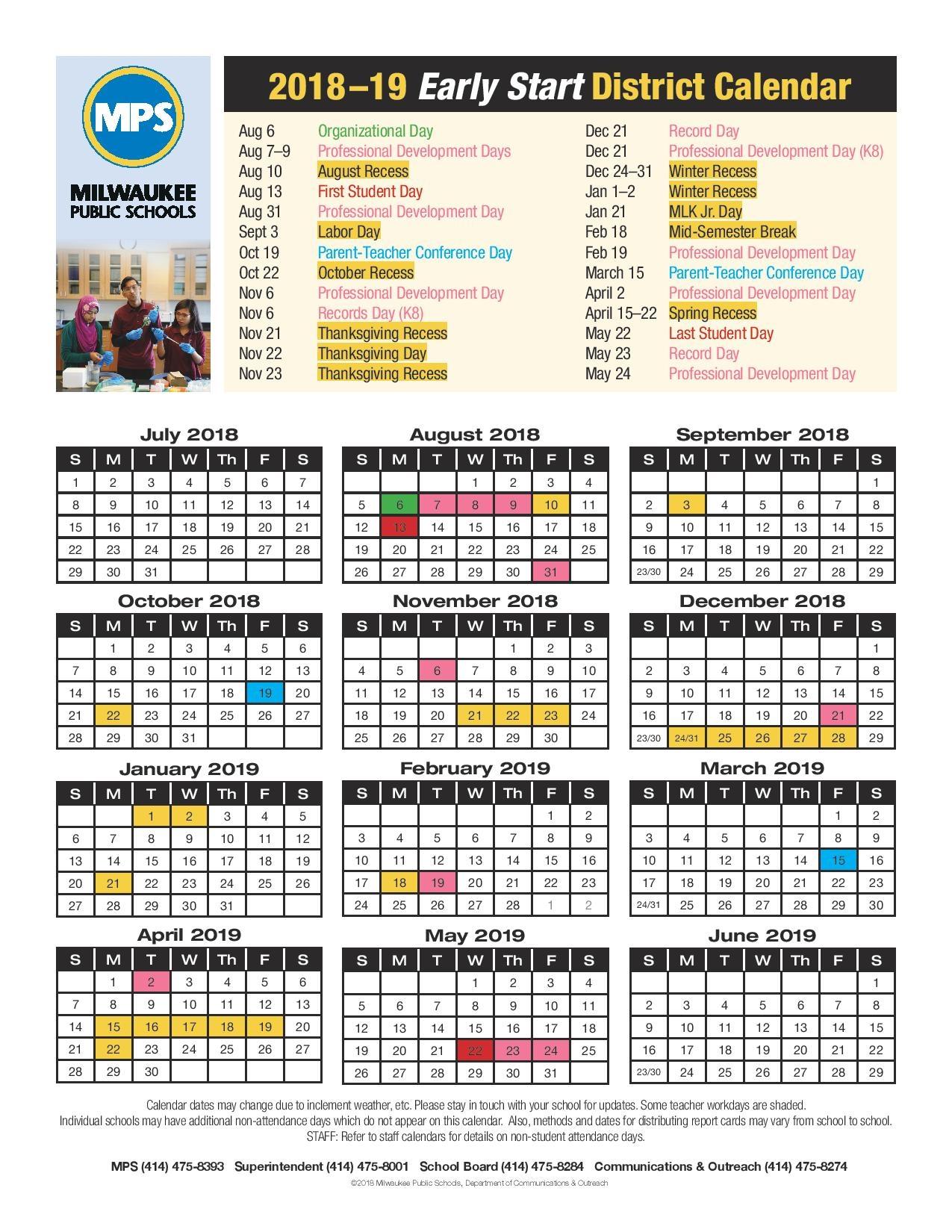 Mps School Calendar