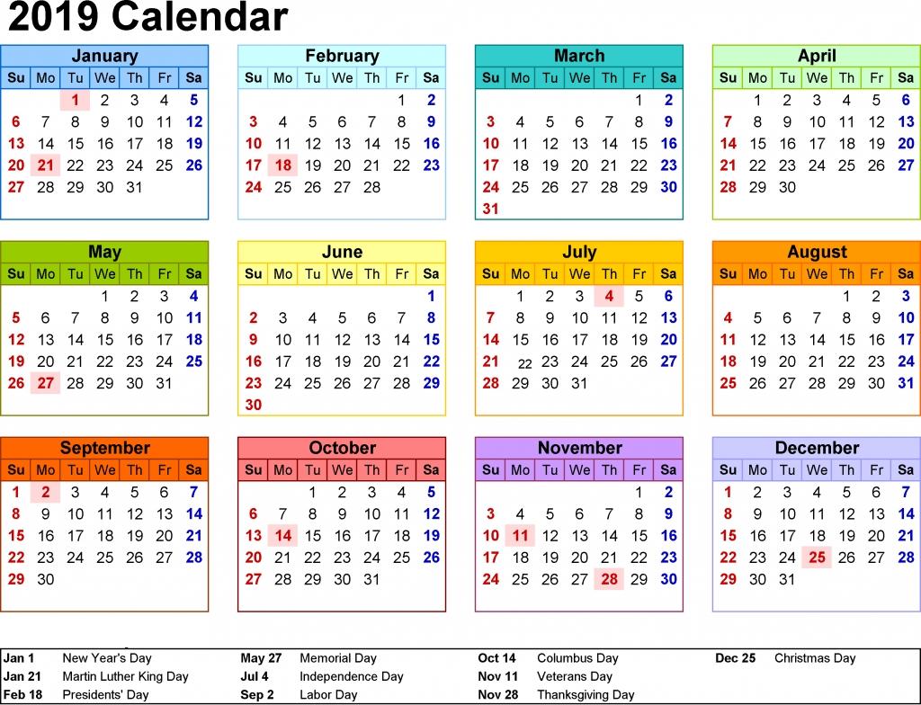 2019 Calendar Nsw
