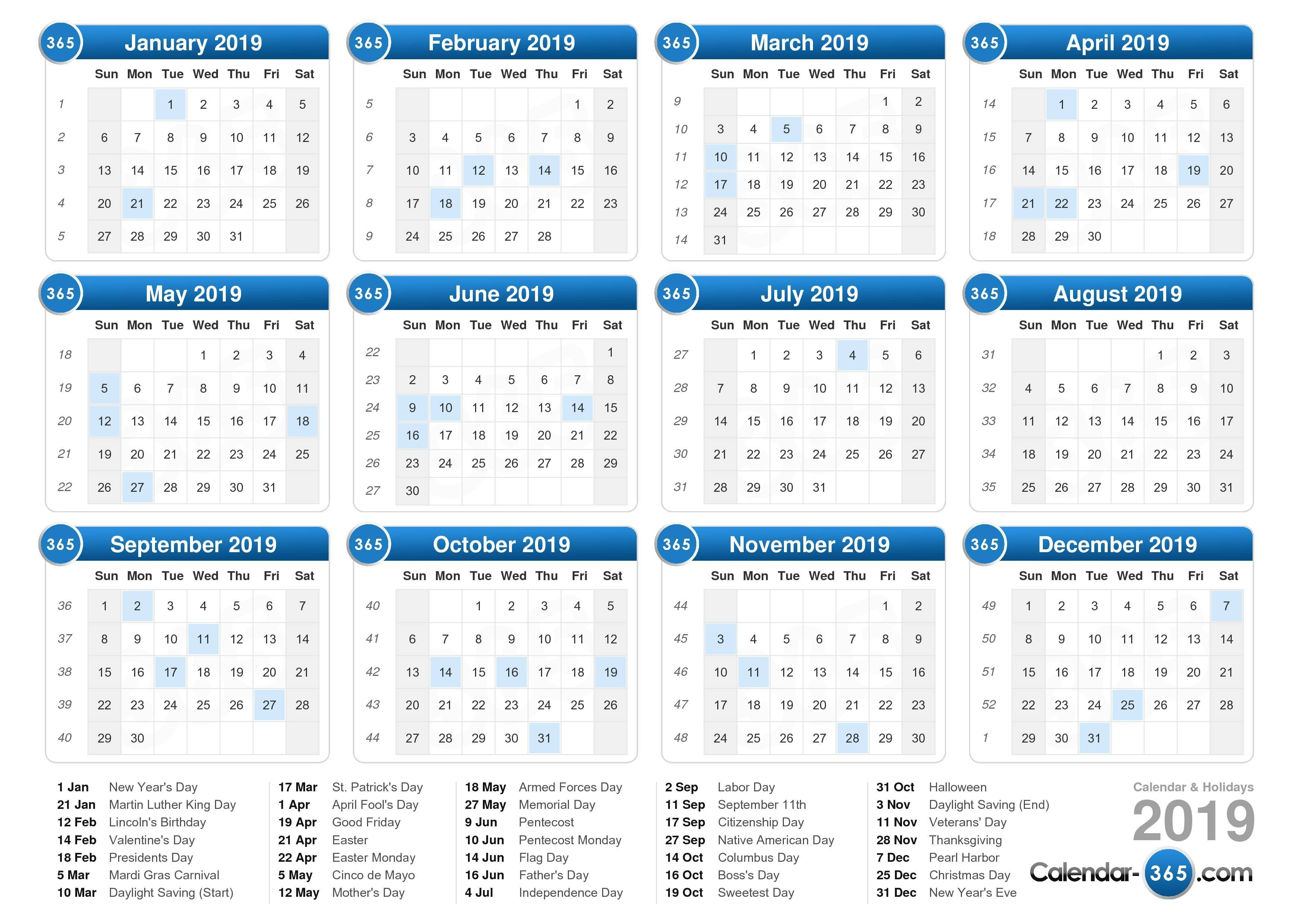 Calendar Of 2019