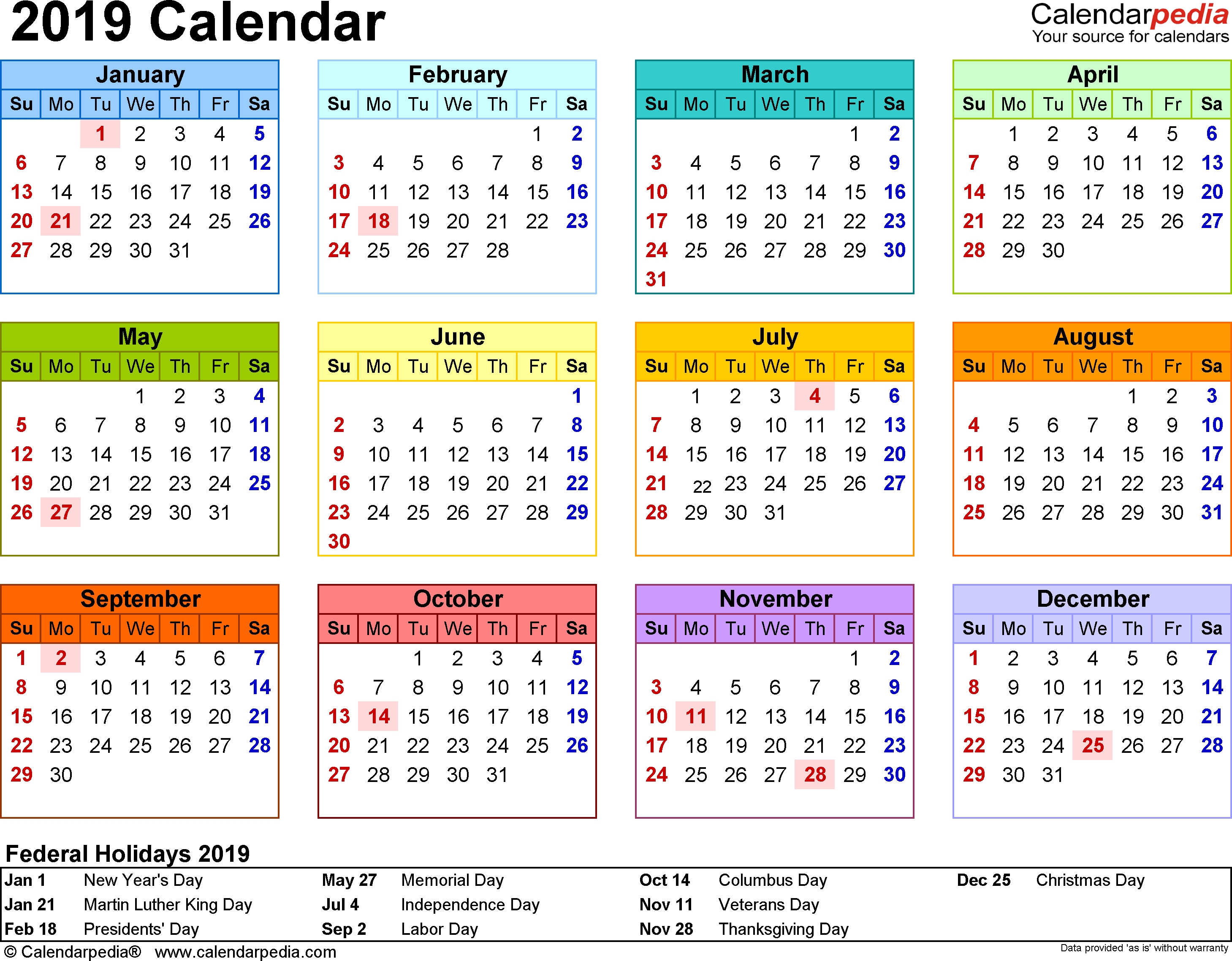 2019 Calendar Excel Download