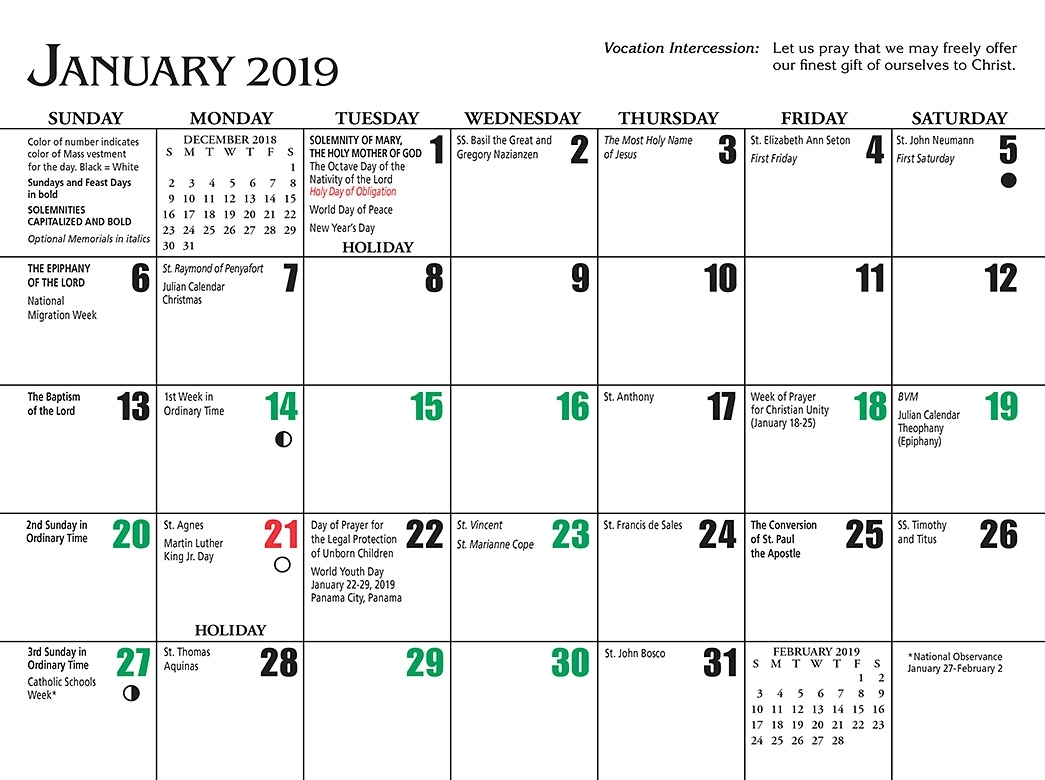 2019 Calendar Religious