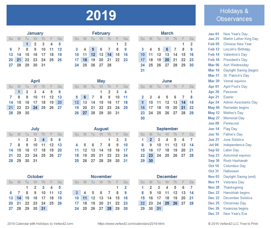 2019 Calendar India Psd