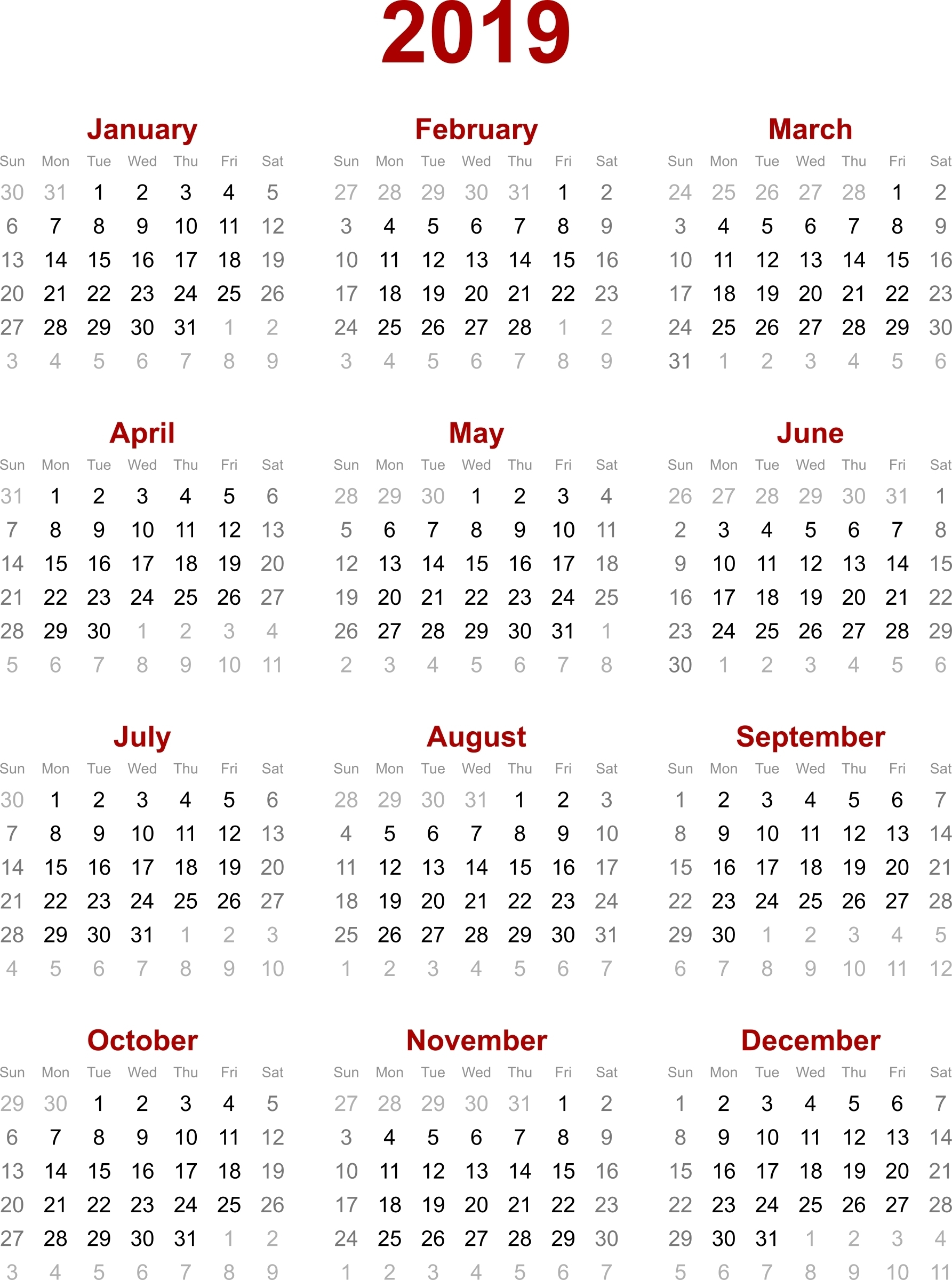 January 2019 Calendar Hong Kong
