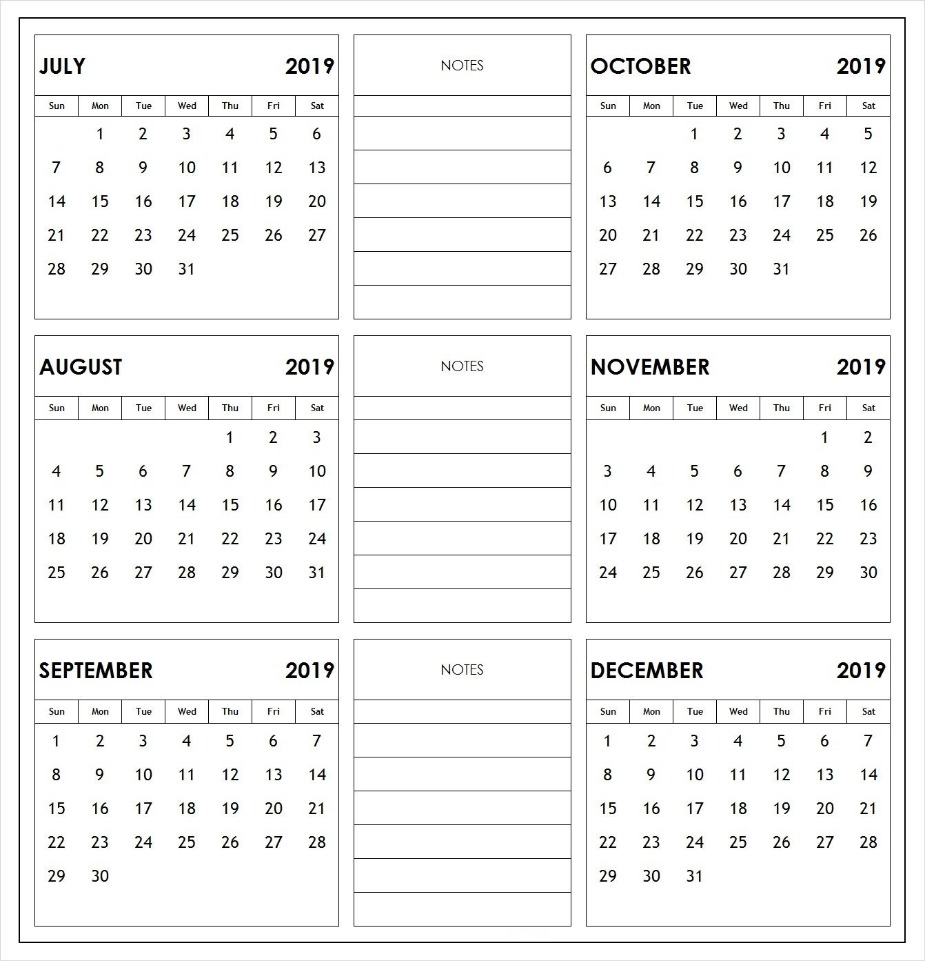 8 Month Calendar 2019 Dec To Jul