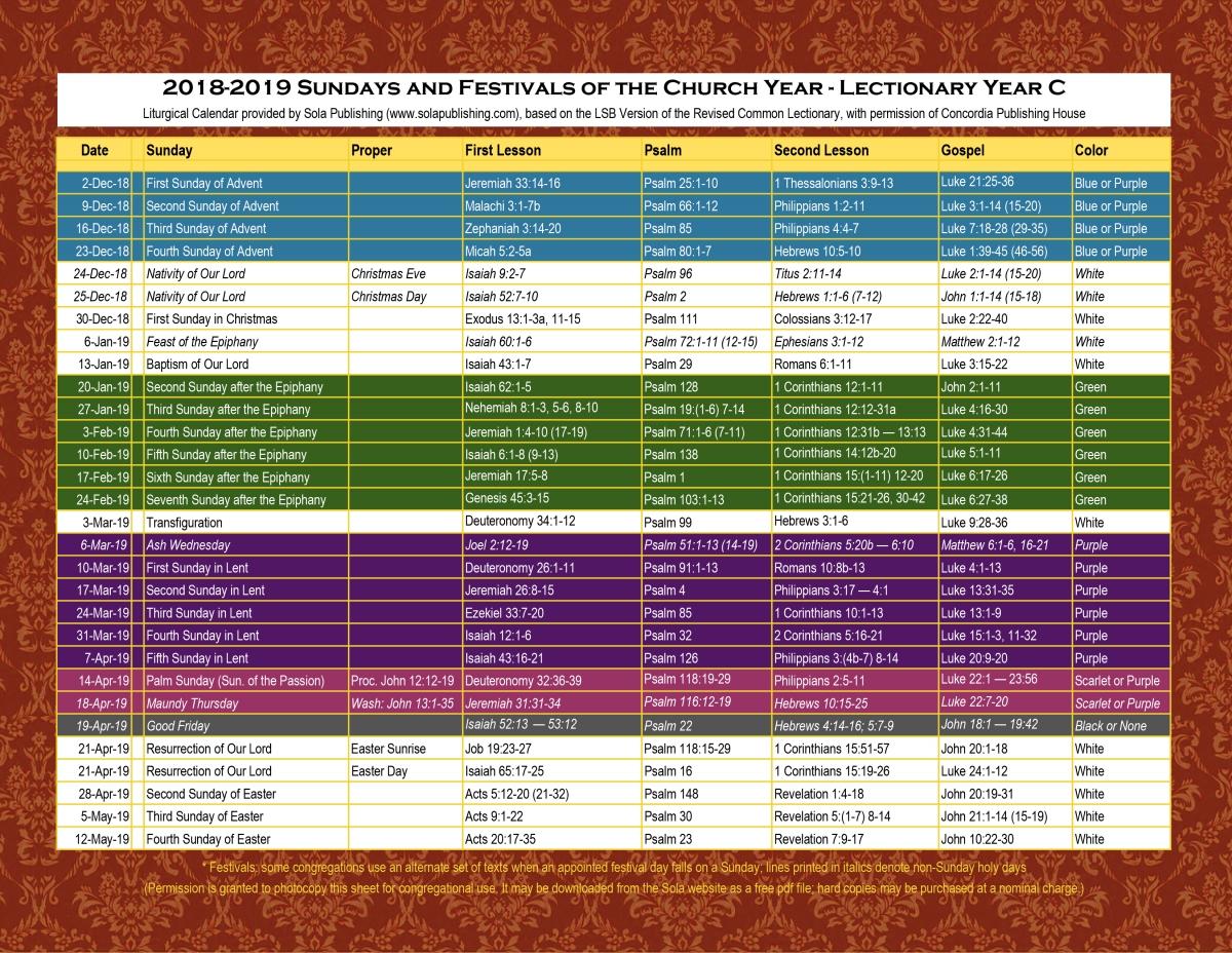 2019 Liturgical Calendar Year C K 2019 Sola Publishing
