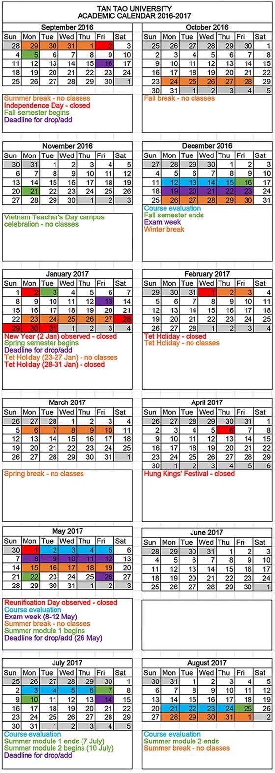 Academic Calendar Tan Tao University