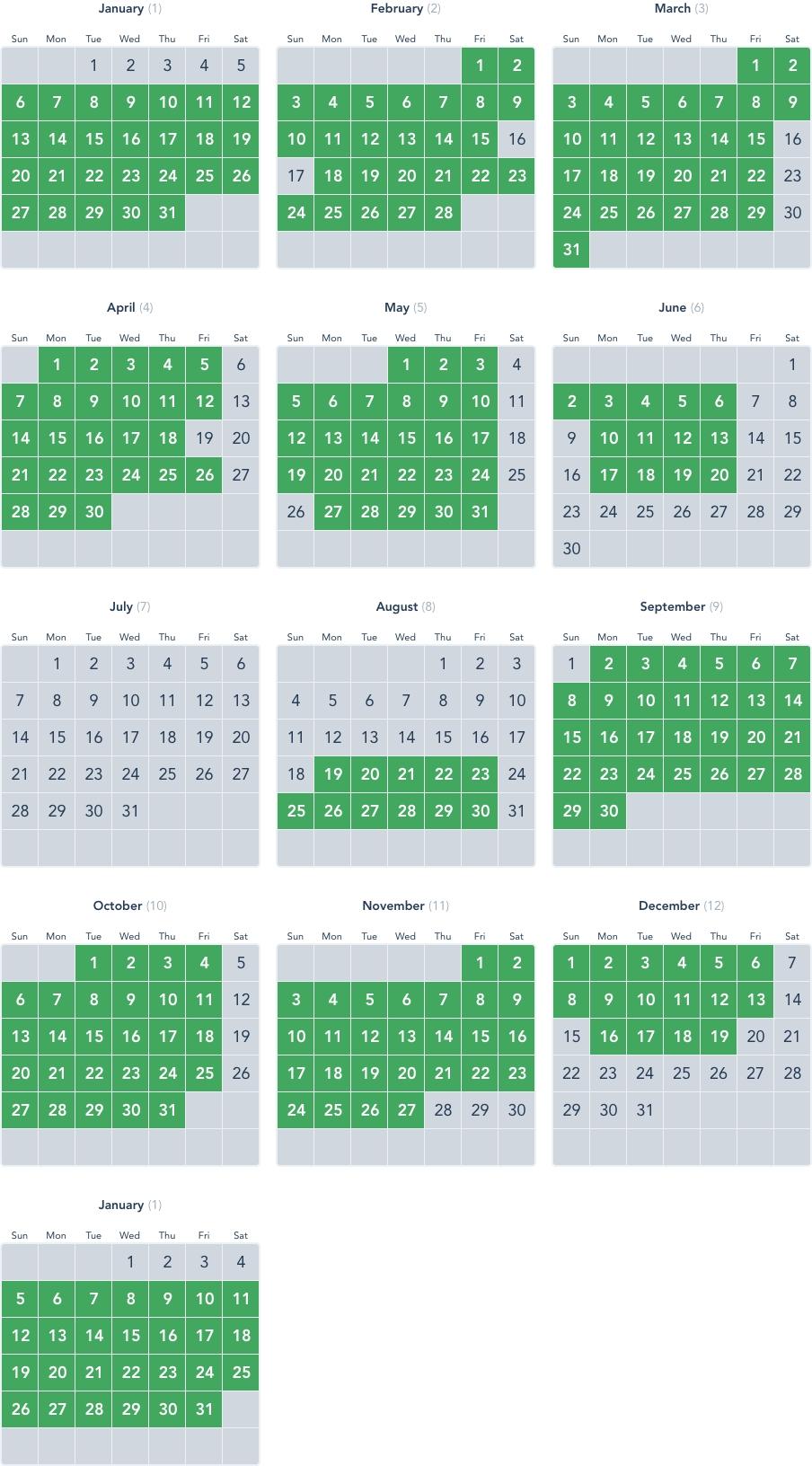 Disneyland Annual Pass Calendar