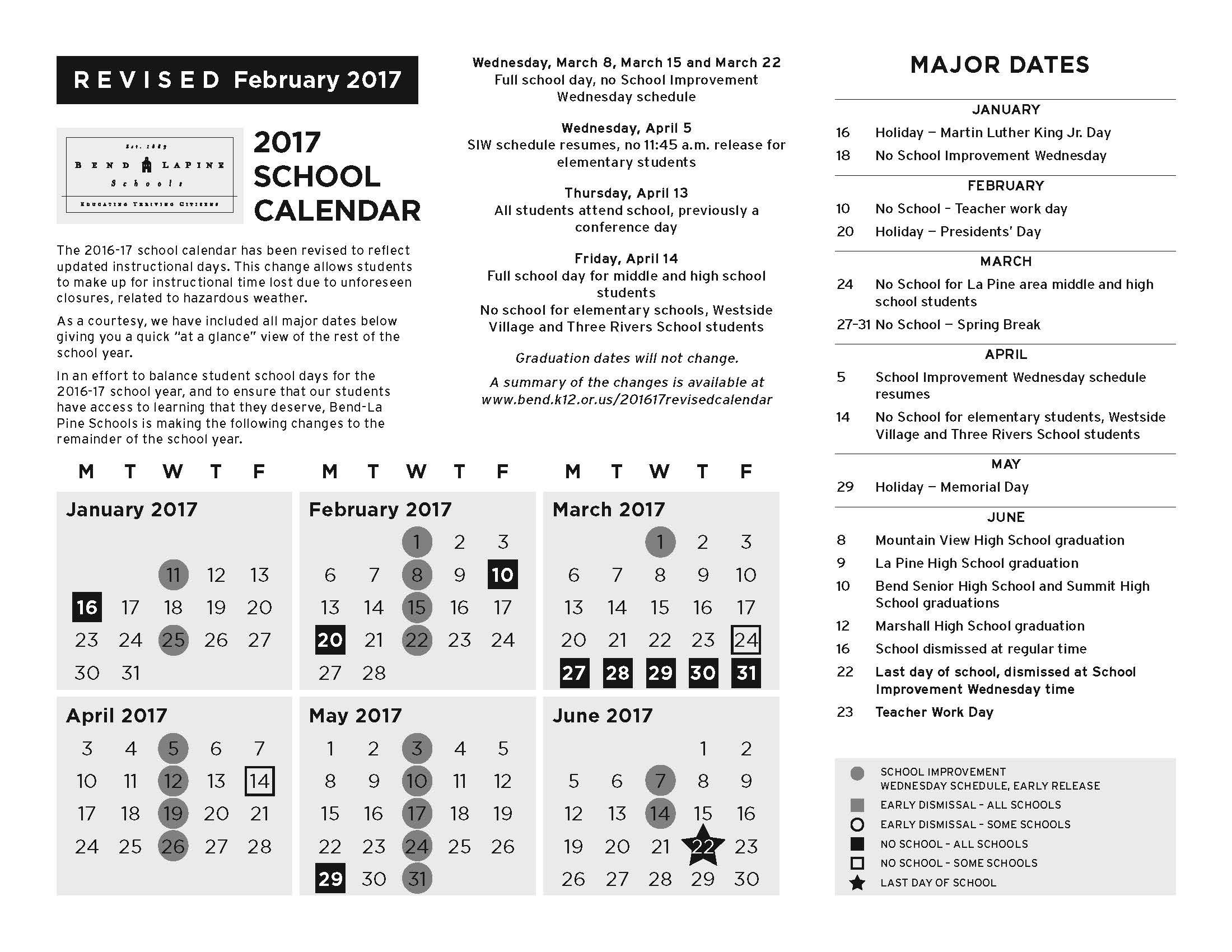 Bend Lapine School District Calendar
