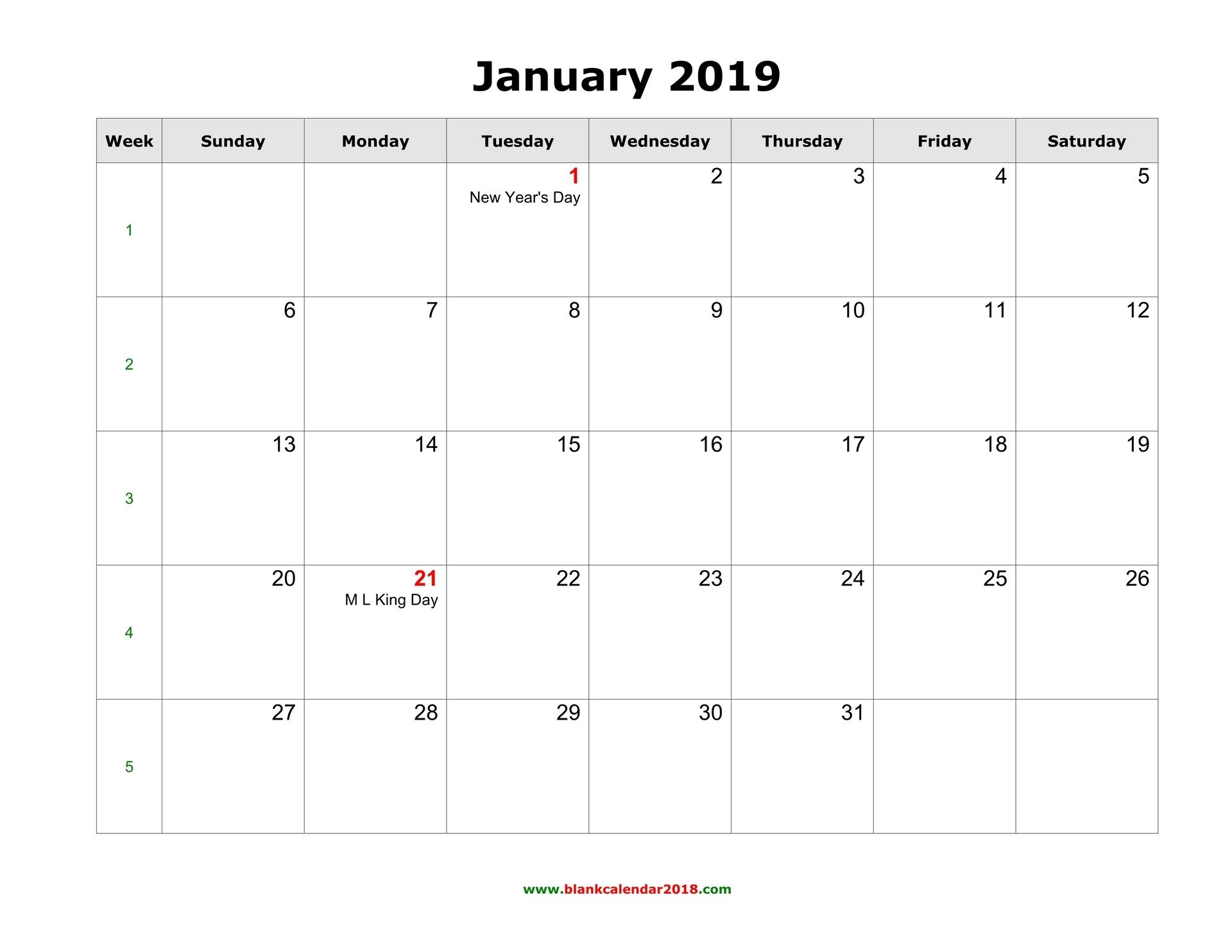 2019 Calendar Template Word