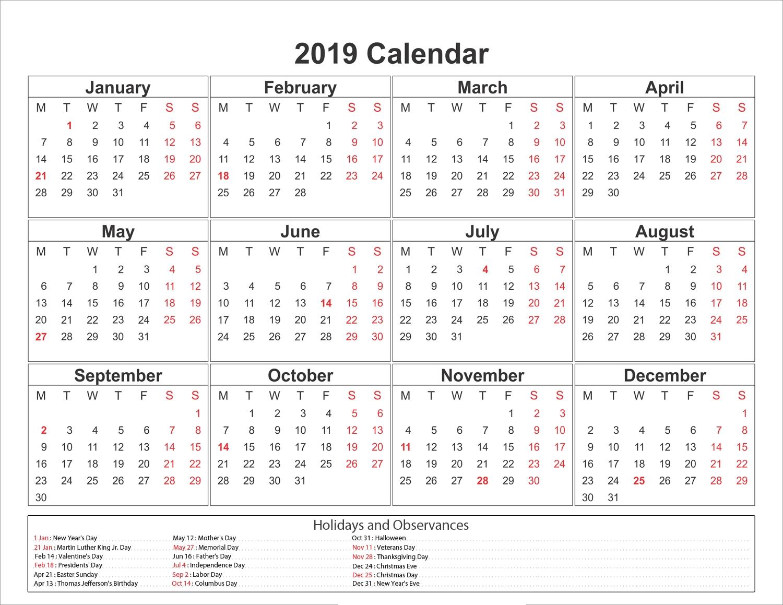 2019 Calendar Printable With Holidays