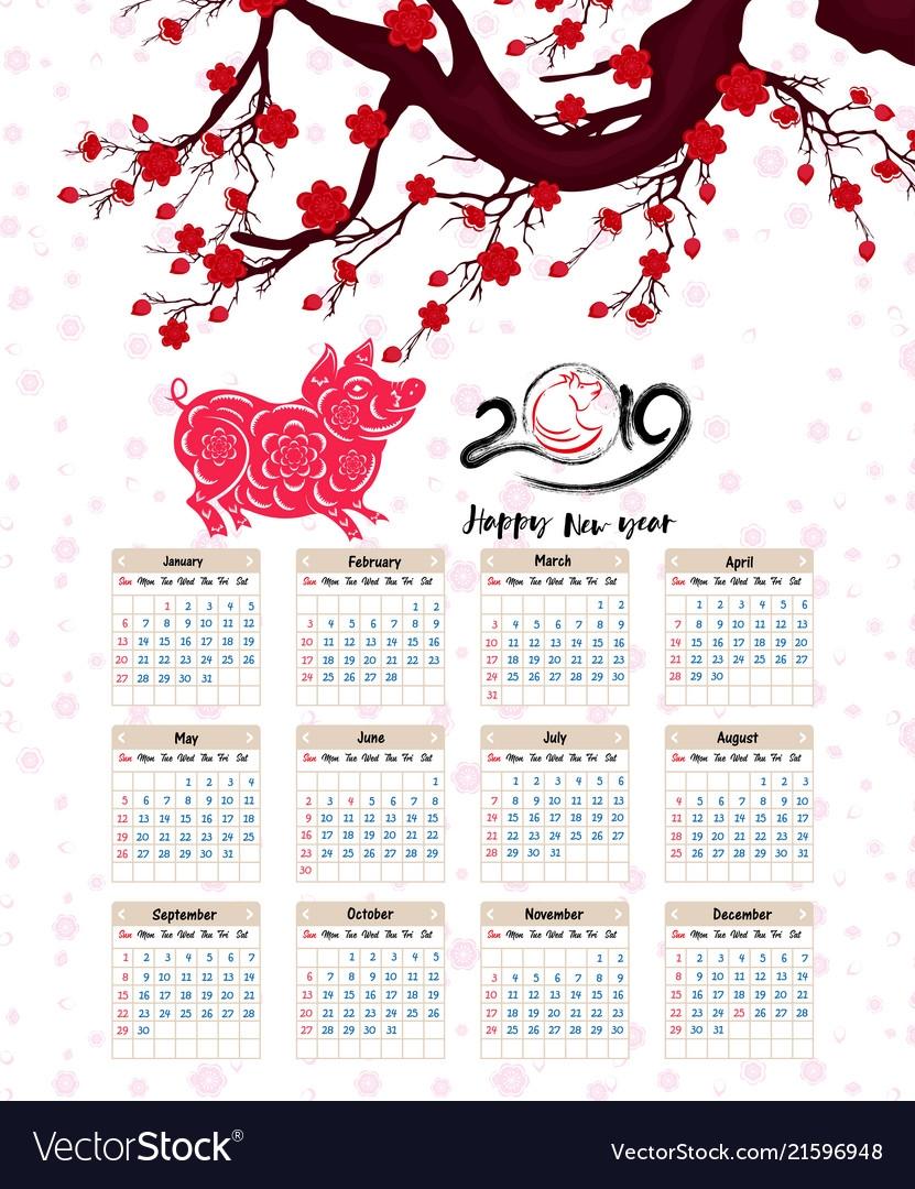 2019 Calendar Lunar