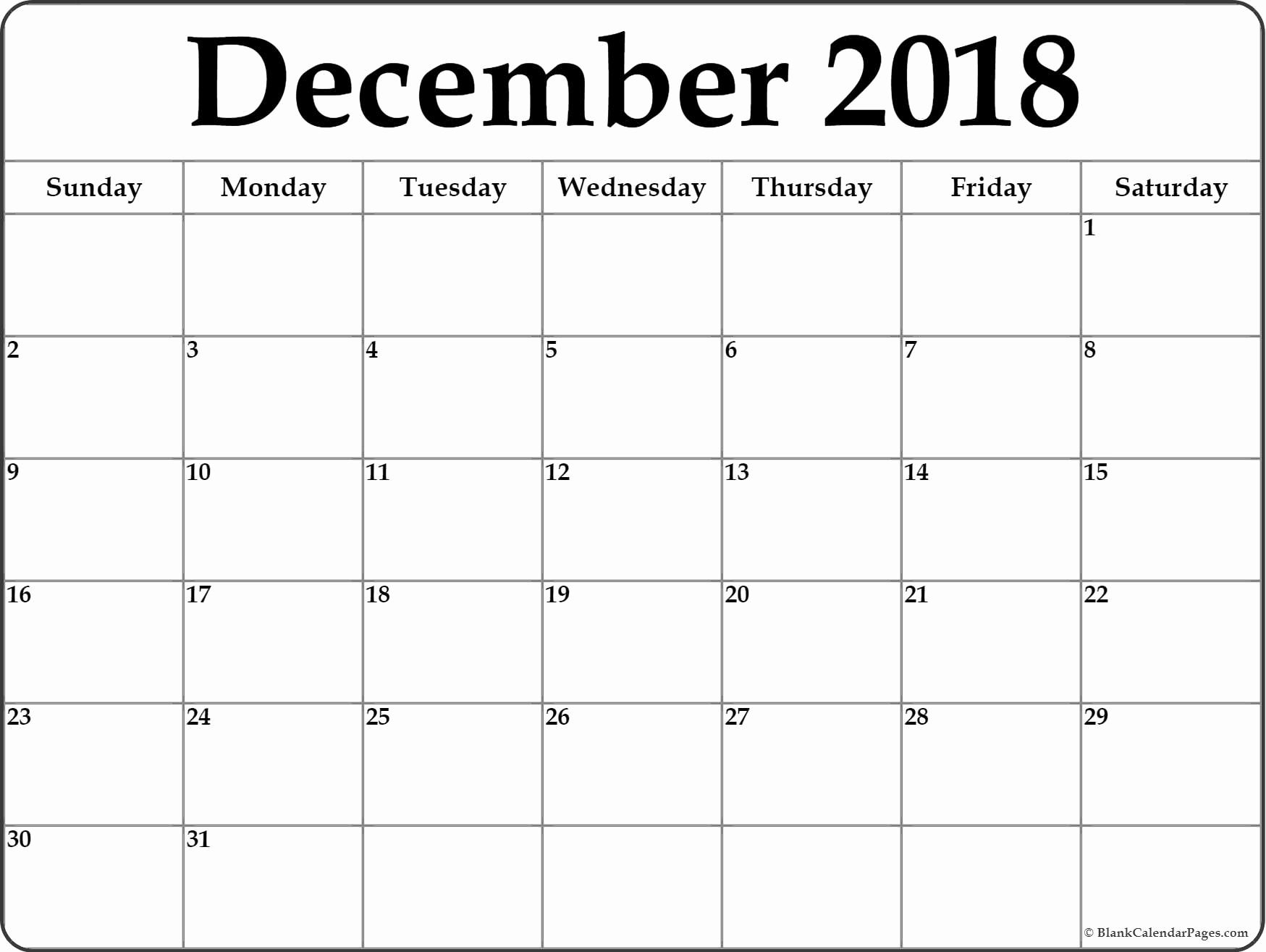 Calendar December 2018 And January 2019 December 2018 Calendar