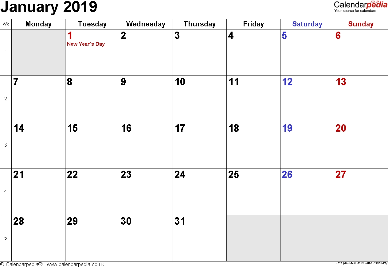 2019 January Calendar United Kingdom