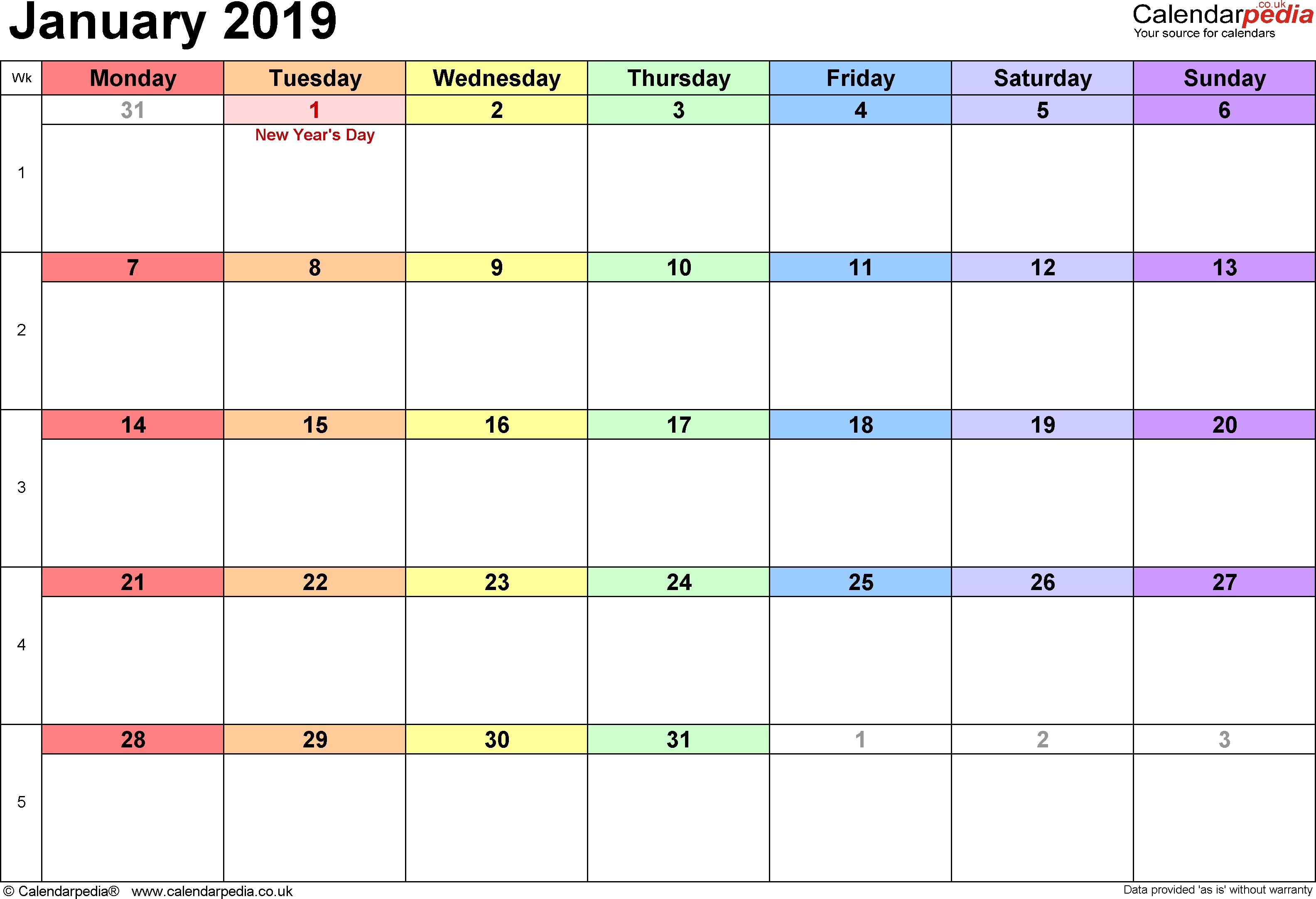 January Calendar 2019 Uk