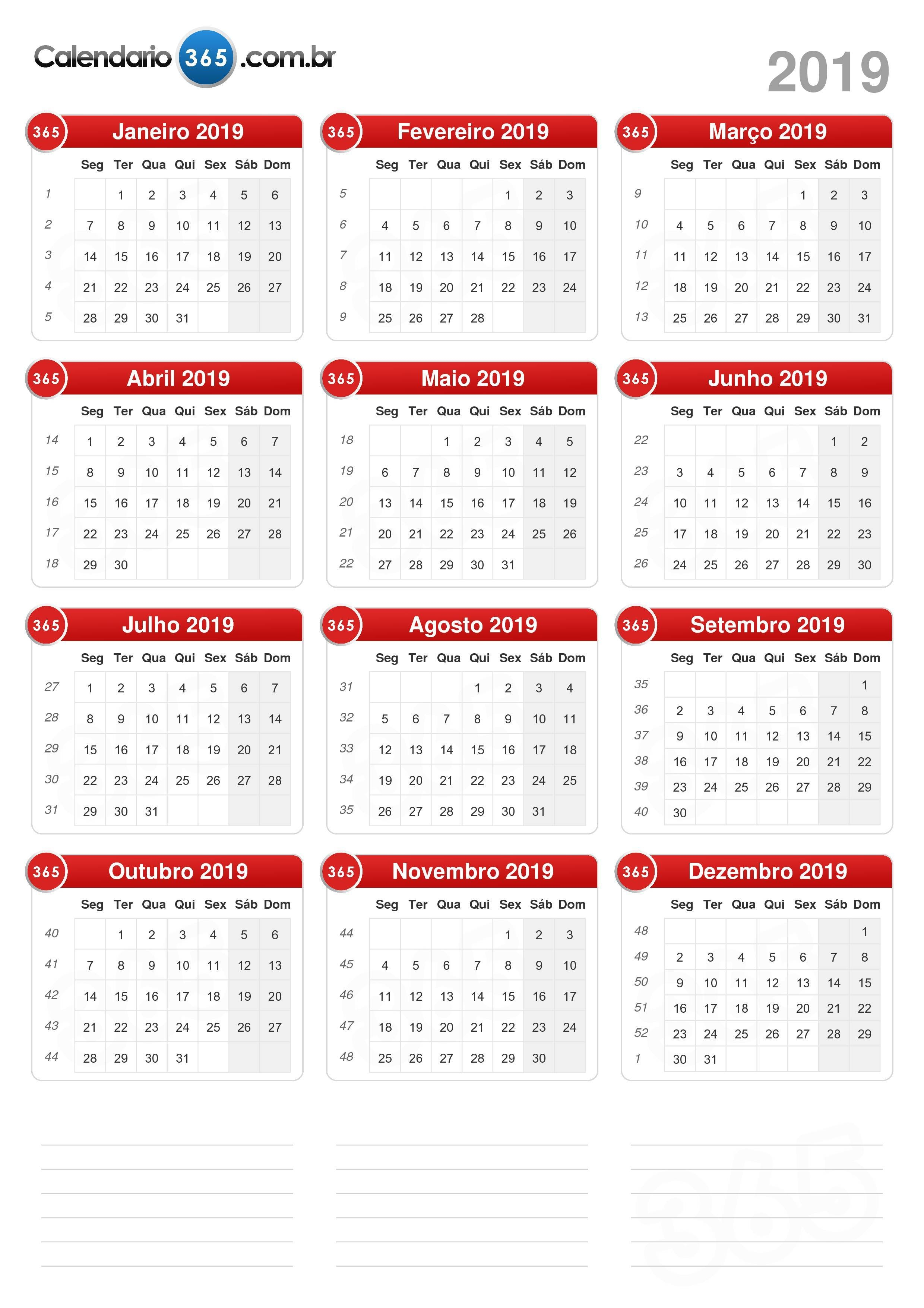 Calendario De 2019 Com Feriados