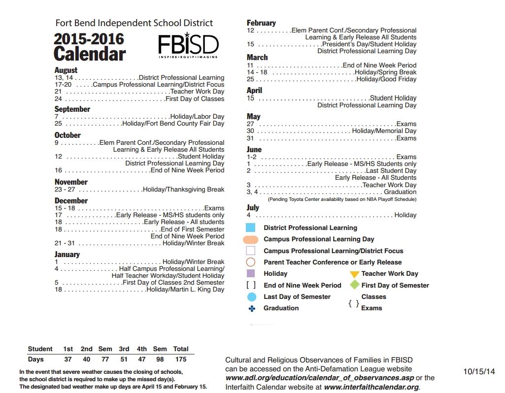 Fort Bend Isd Calendar