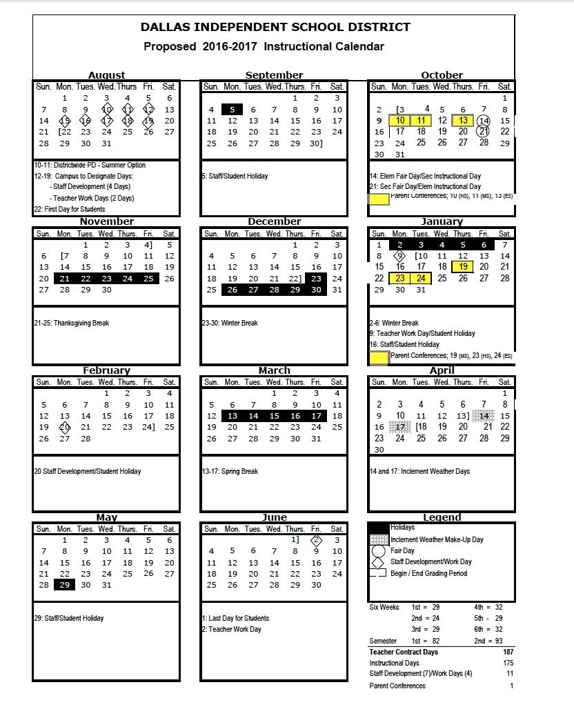 Dallas Isd Calendar 2018 Aigb