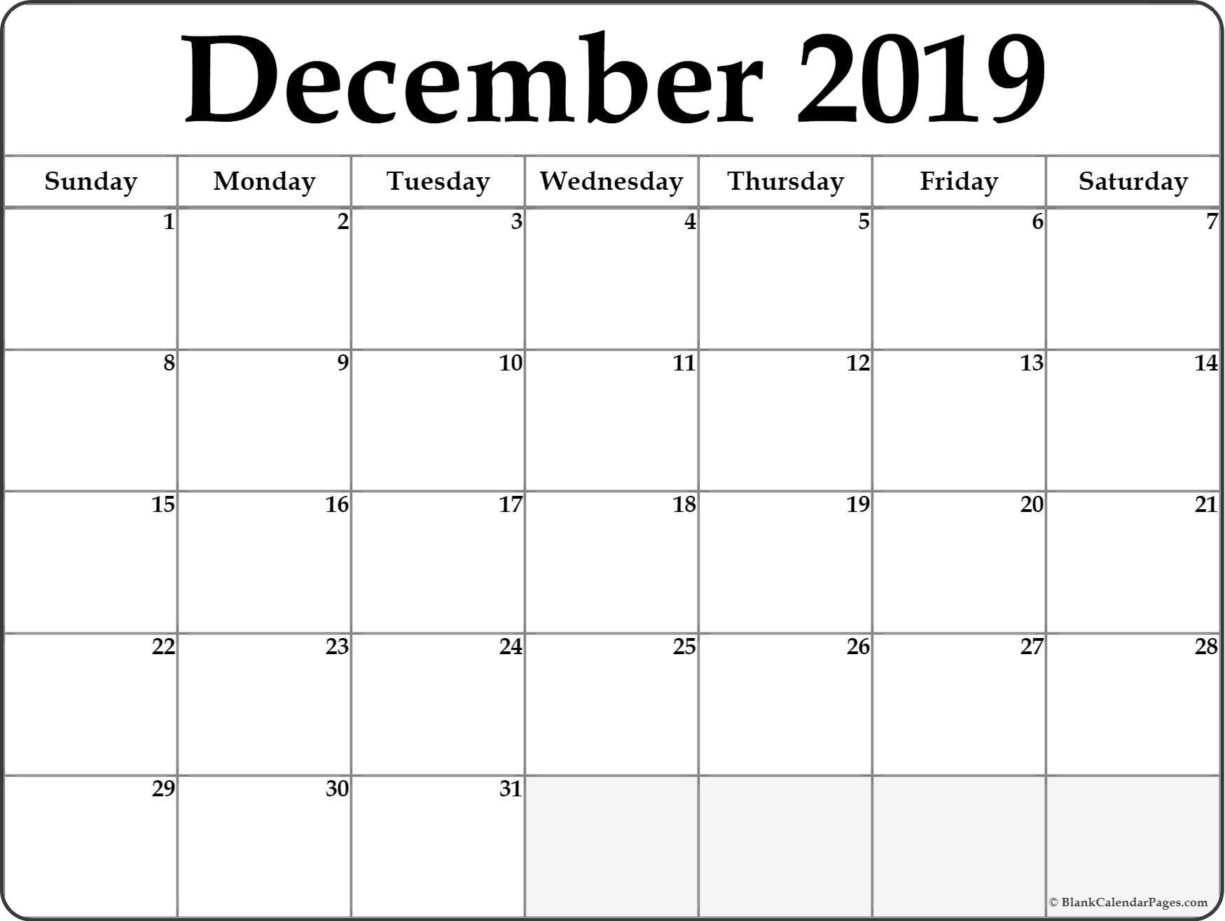 Calendar December  2019 Printable