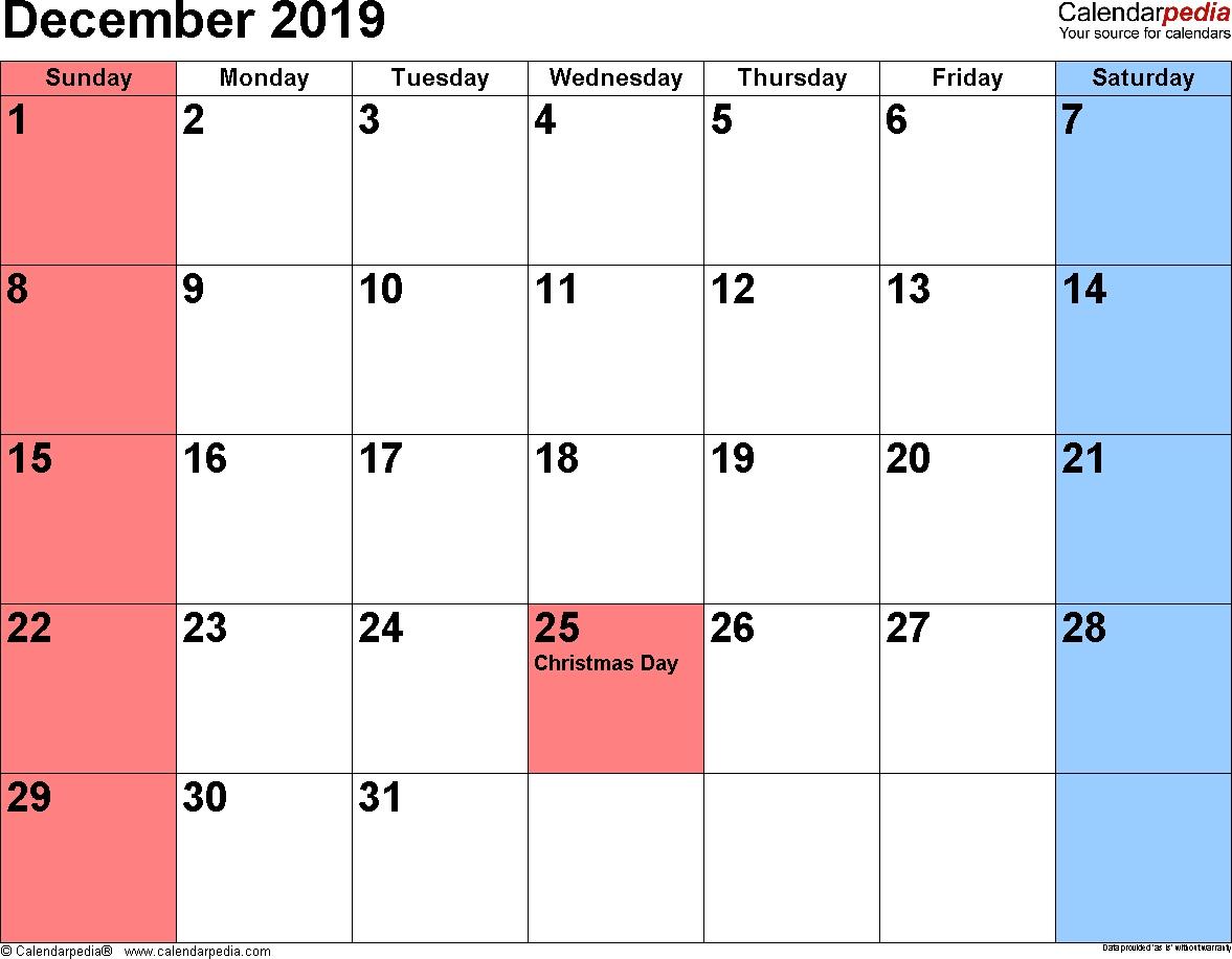 December 2019 Calendar Image