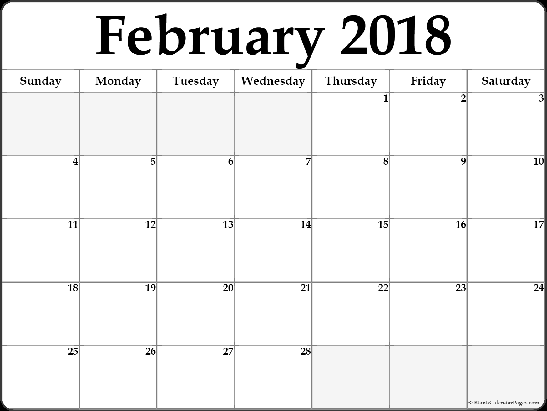 Free February Calendar Printable Templates